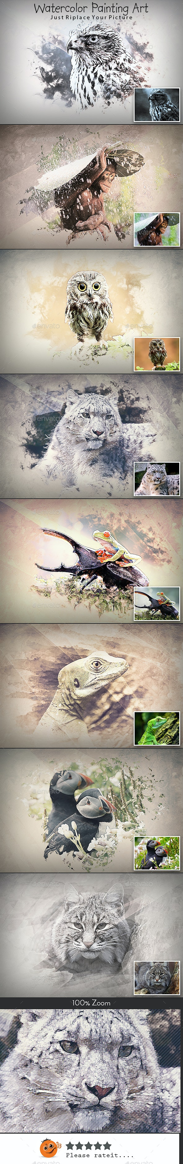 Watercolor Painting Art - Photo Templates Graphics