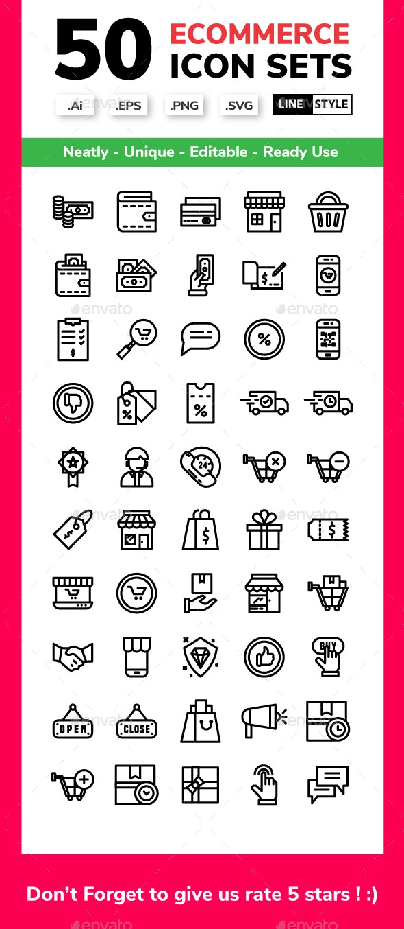 E-commerce - Line style - Business Icons
