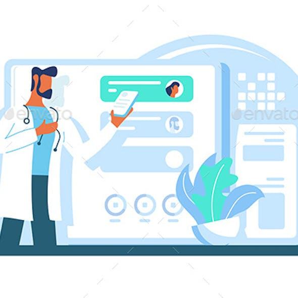 Flat Modern Adult Doctor with Beard and Tablet