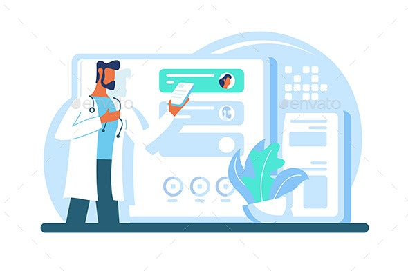 Flat Modern Adult Doctor with Beard and Tablet - Health/Medicine Conceptual