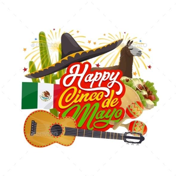 Mexican Sombrero and Guitar. Cinco De Mayo Holiday - Seasons/Holidays Conceptual