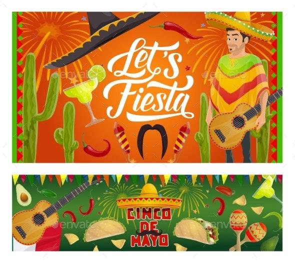 Mexican Cinco De Mayo Sombrero, Guitar, Cactus - Seasons/Holidays Conceptual