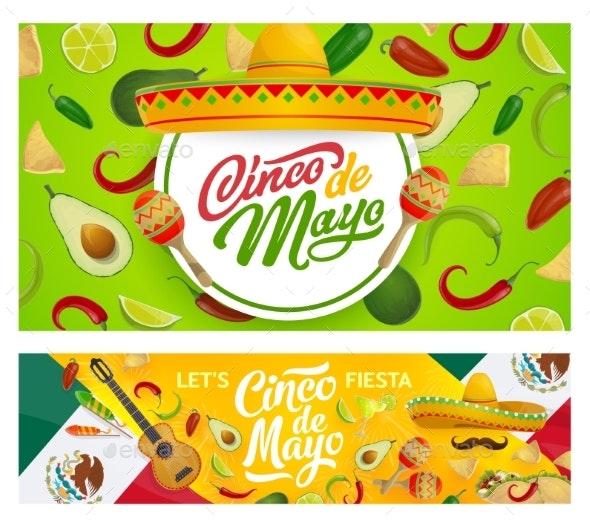 Mexican Sombrero, Maracas and Cinco De Mayo Food - Seasons/Holidays Conceptual