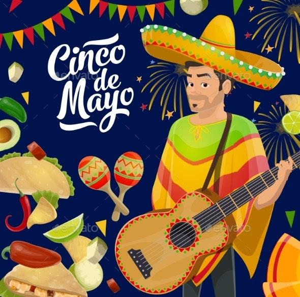Mexican Holiday Guitar, Sombrero, Maracas, Flags - Seasons/Holidays Conceptual