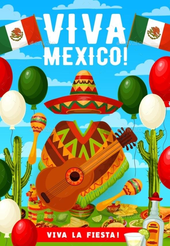 Mexican Cinco De Mayo Sombrero, Poncho and Guitar - Seasons/Holidays Conceptual