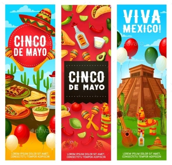 Mexican Fiesta Symbols, Cinco De Mayo Holiday - Seasons/Holidays Conceptual