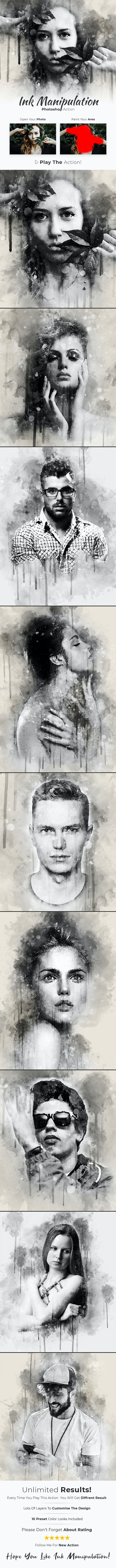 Ink Manipulation Photoshop Action - Photo Effects Actions