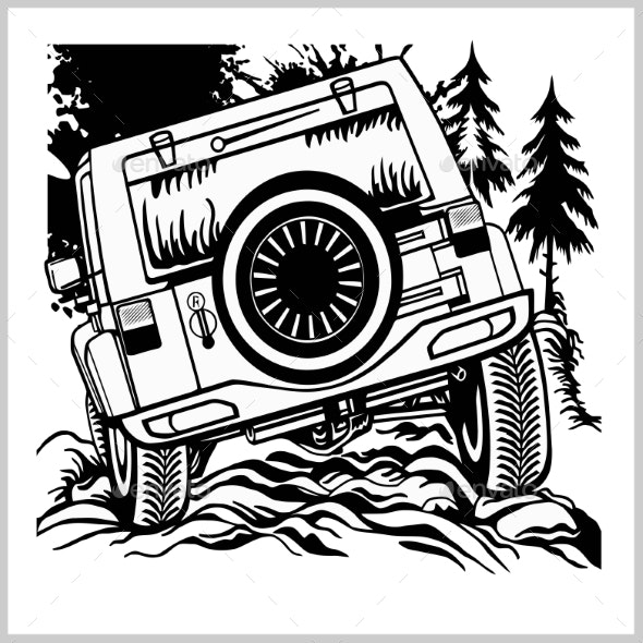Offroad Car Monochrome Template for Labels - Man-made Objects Objects