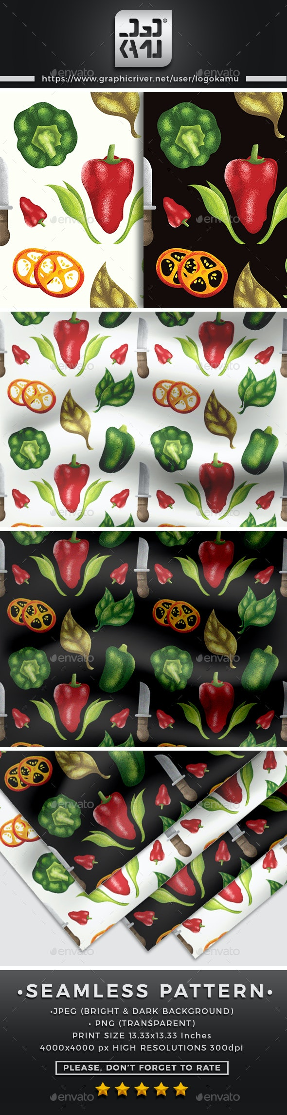 Vegetables Seamless Pattern - Patterns Backgrounds