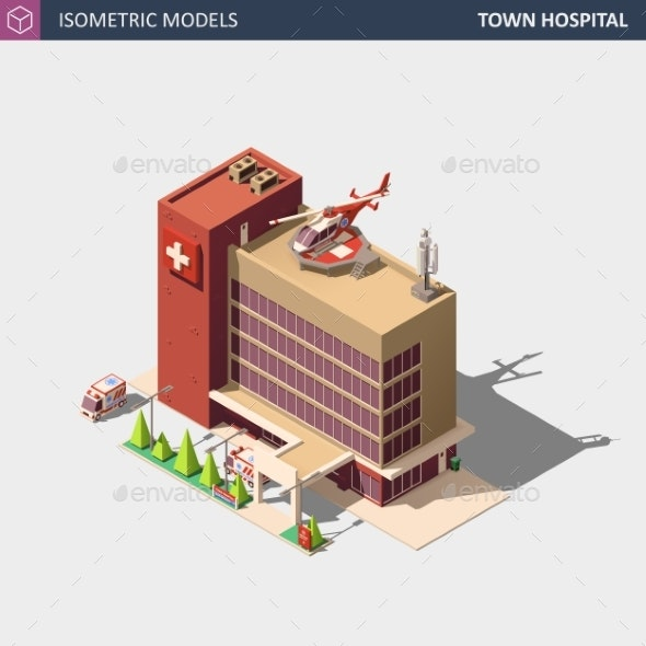 Hospital or Ambulance Building Isometric - Health/Medicine Conceptual