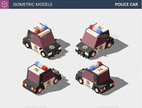 Isometric Police Car Isometric - Man-made Objects Objects