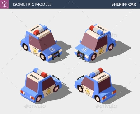Isometric Blue Sheriff Car Isometric - Man-made Objects Objects