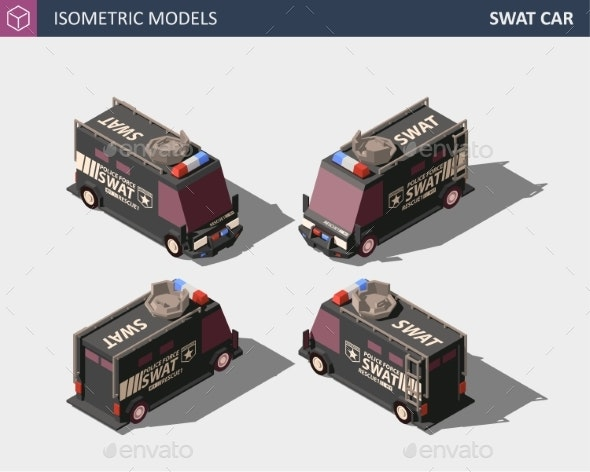 Isometric Police Van Armored Special Forces - Man-made Objects Objects