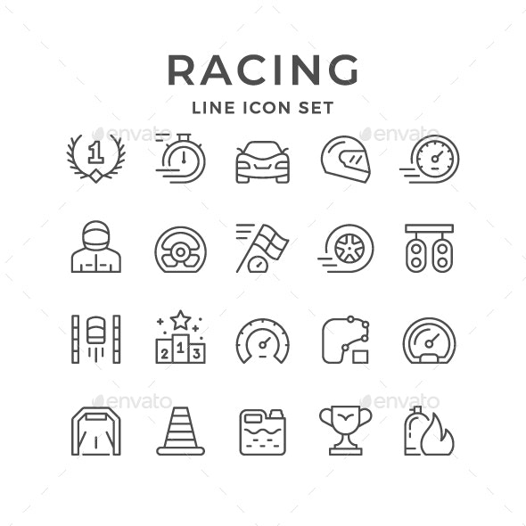 Set Line Icons of Racing - Man-made objects Objects