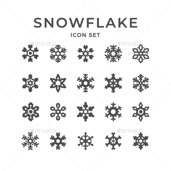 Set Icons of Snowflake - Man-made objects Objects