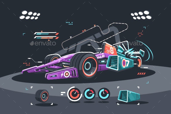 Racing Car of F1 - Man-made Objects Objects