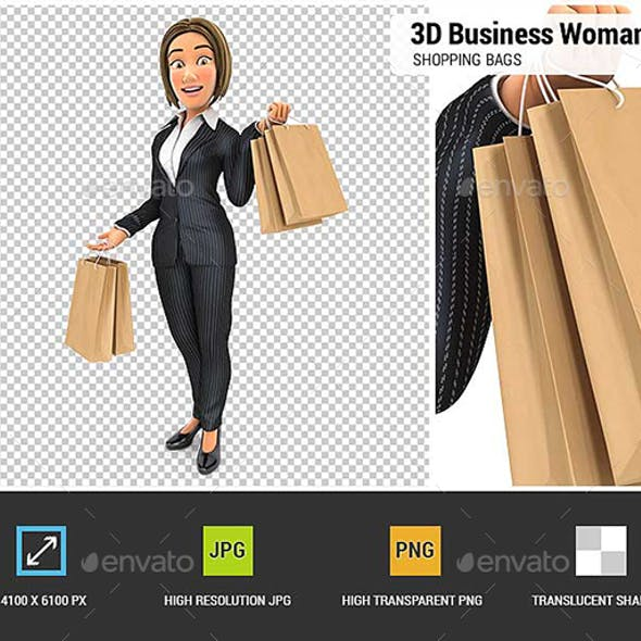 3D Business Woman Carrying Shopping Bags
