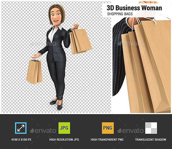 3D Business Woman Carrying Shopping Bags - Characters 3D Renders