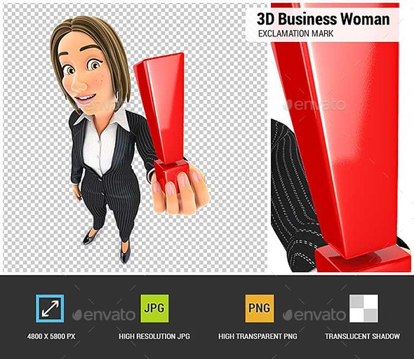 3D Business Woman Holding Exclamation Mark - Characters 3D Renders