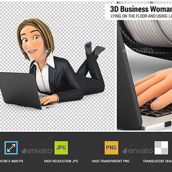 3D Business Woman Lying on the Floor and Using Laptop