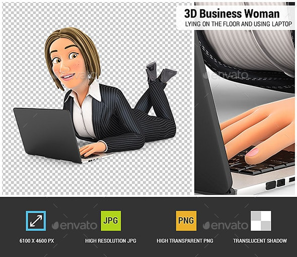 3D Business Woman Lying on the Floor and Using Laptop - Characters 3D Renders