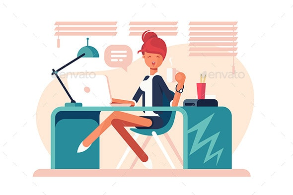 Cartoon Girl Sitting at Workplace - People Characters