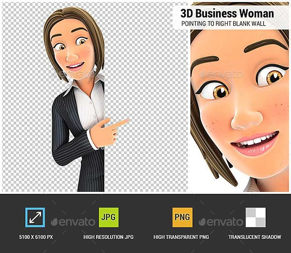 3D Business Woman Pointing to Right Blank Wall - Characters 3D Renders