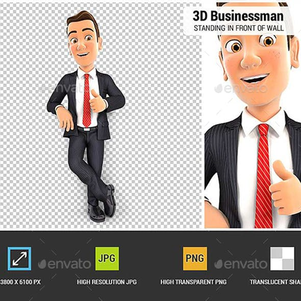 3D Businessman Standing in Front of Wall with Thumb Up