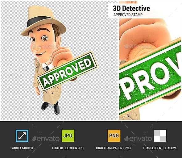 3D Detective Approved Stamp - Characters 3D Renders