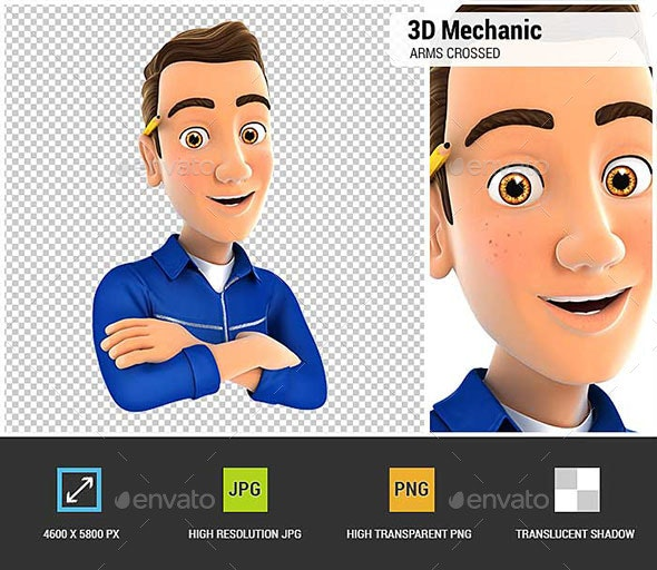 3D Mechanic with Arms Crossed - Characters 3D Renders