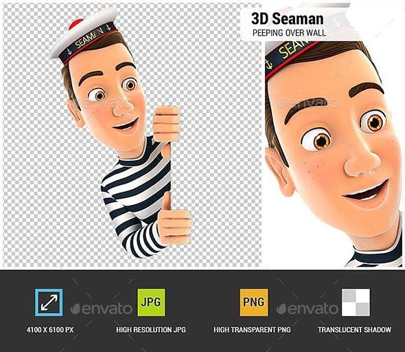 3D Seaman Peeping Over Blank Wall - Characters 3D Renders