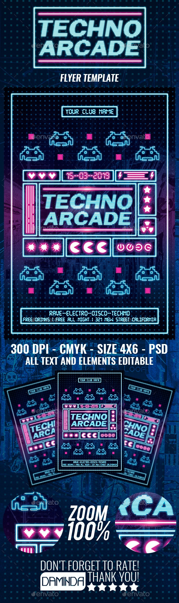 Techno Arcade New 4 Flyer Template - Clubs & Parties Events