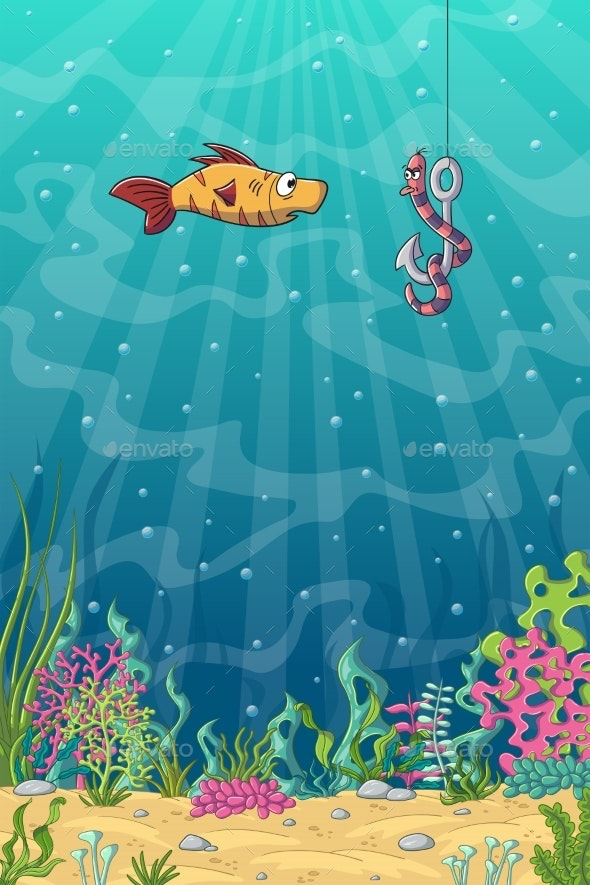 Fish And Worm on a Fishhook - Animals Characters
