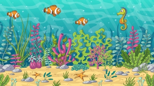 Seamlees Underwater Landscape - Animals Characters