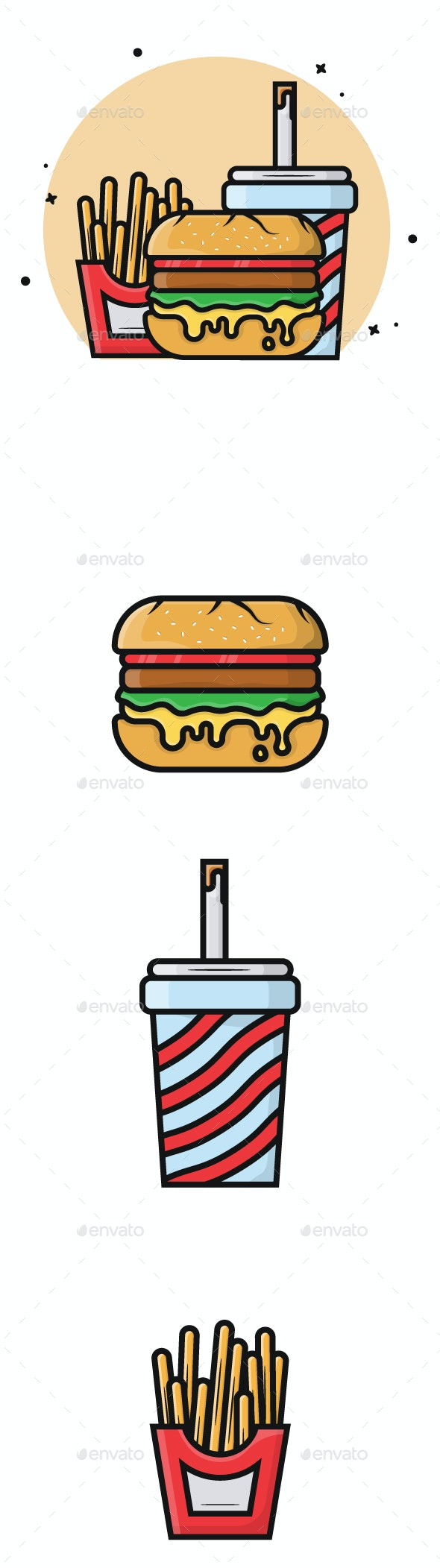 Food and Beverage Vector Illustration - Food Objects