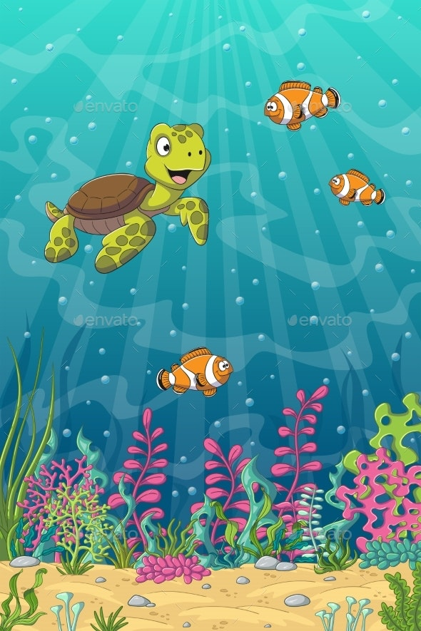 Turtle And Clown Fish - Animals Characters