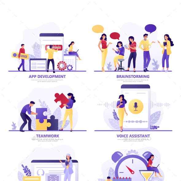 Flat Concept Vector Illustrations on Different Themes