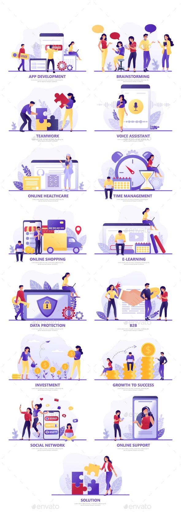 Flat Concept Vector Illustrations on Different Themes - Concepts Business