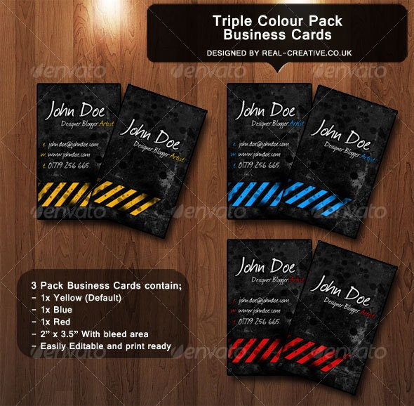 Triple Colour Business Card Pack - Business Cards Print