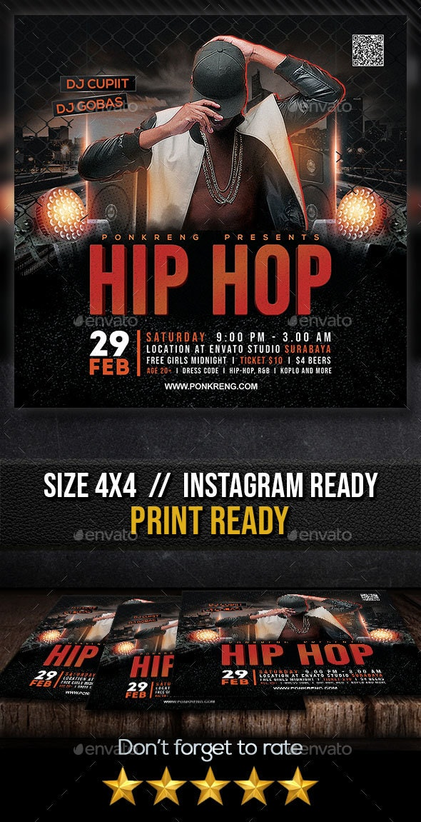 Hip Hop Party Flyer - Clubs & Parties Events