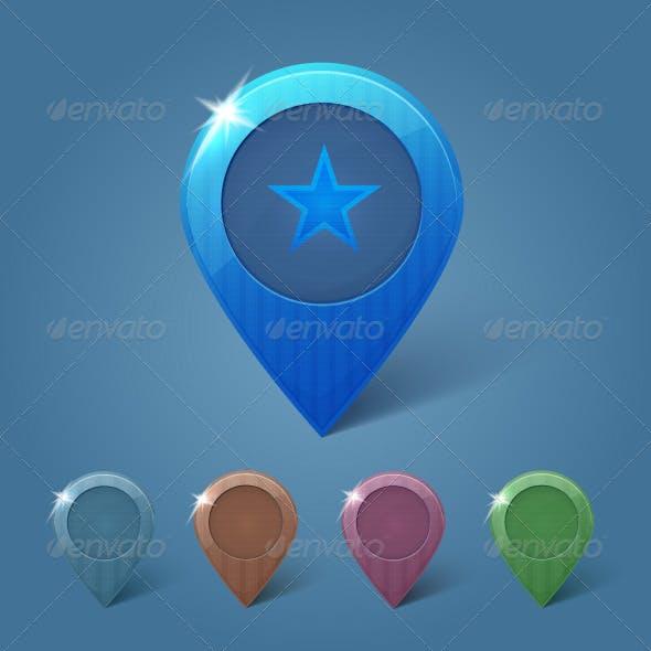 Set of 5 Vector Map Pins