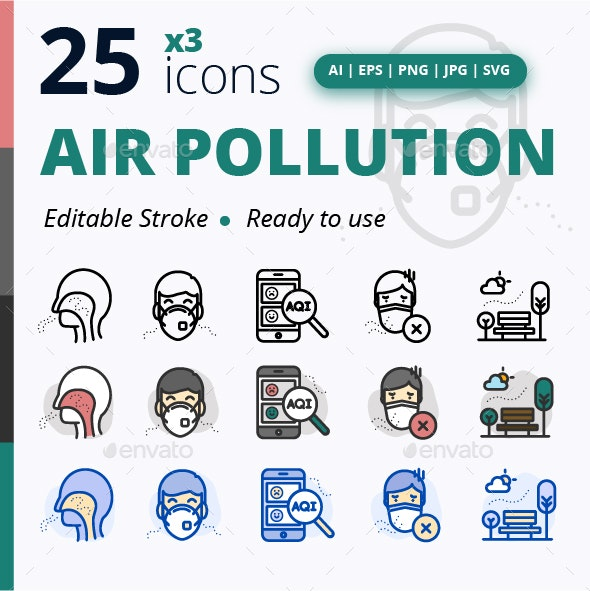 Air Pollution - Objects Icons