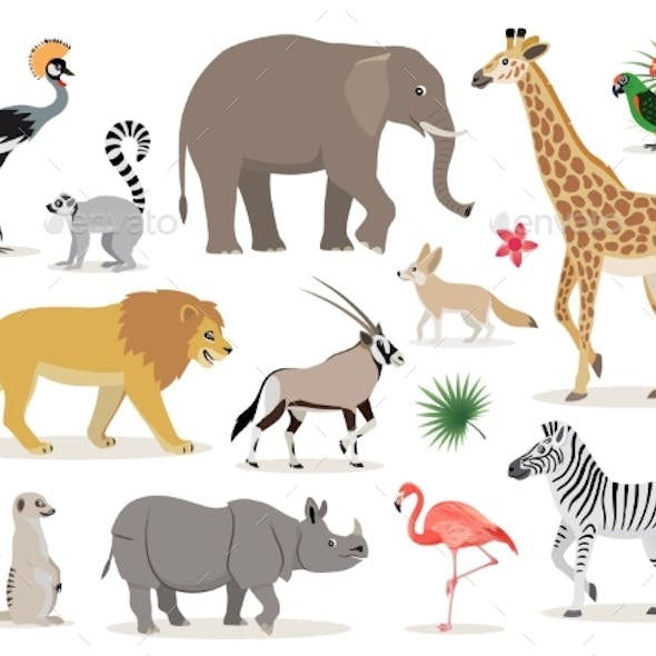 Set of African Animals Icons Isolated