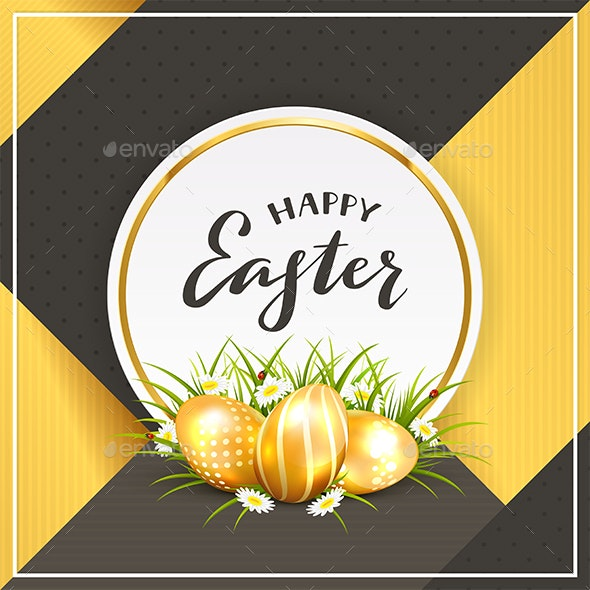 Card with Golden Easter Eggs in Grass on Black and Gold Background - Miscellaneous Seasons/Holidays