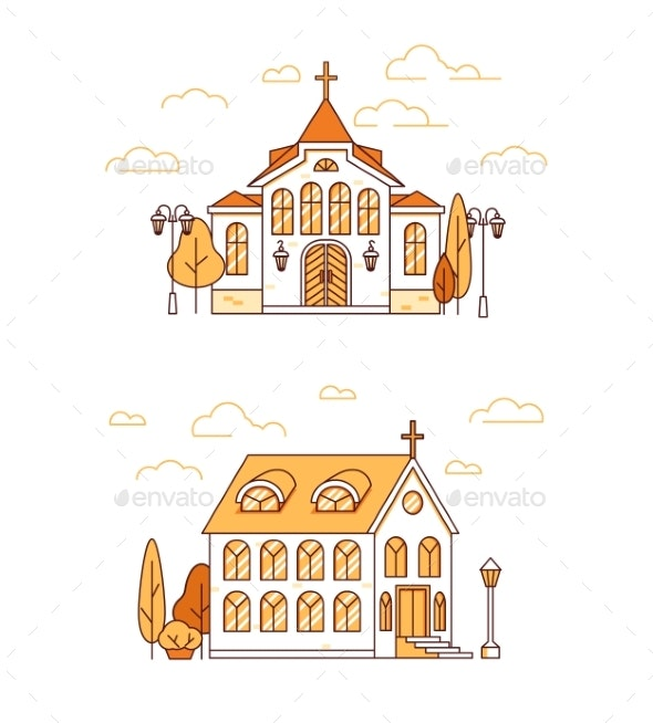 Line Art Set of House or Christian Churches - Religion Conceptual