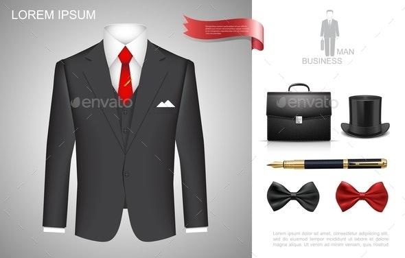 Realistic Businessman Style Composition - Business Conceptual
