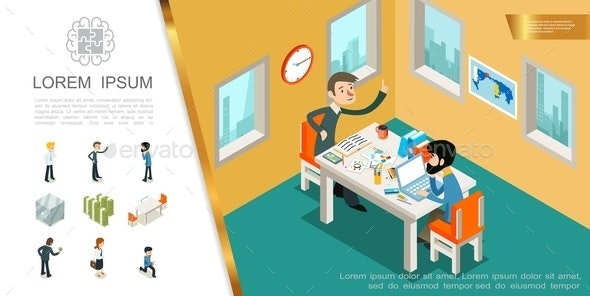 Isometric Business Colorful Composition - People Characters