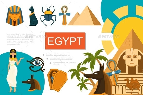 Flat Egypt Symbols Composition - People Characters