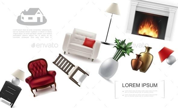 Realistic Classic Interior Elements Template - Miscellaneous Vectors