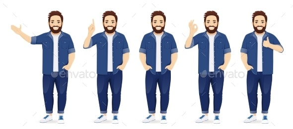 Man in Casual Clothes Set - People Characters